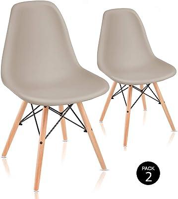 McHaus Pack de Sillas de Comedor de Diseño Nórdico, Haya y Polipropileno, Beige,