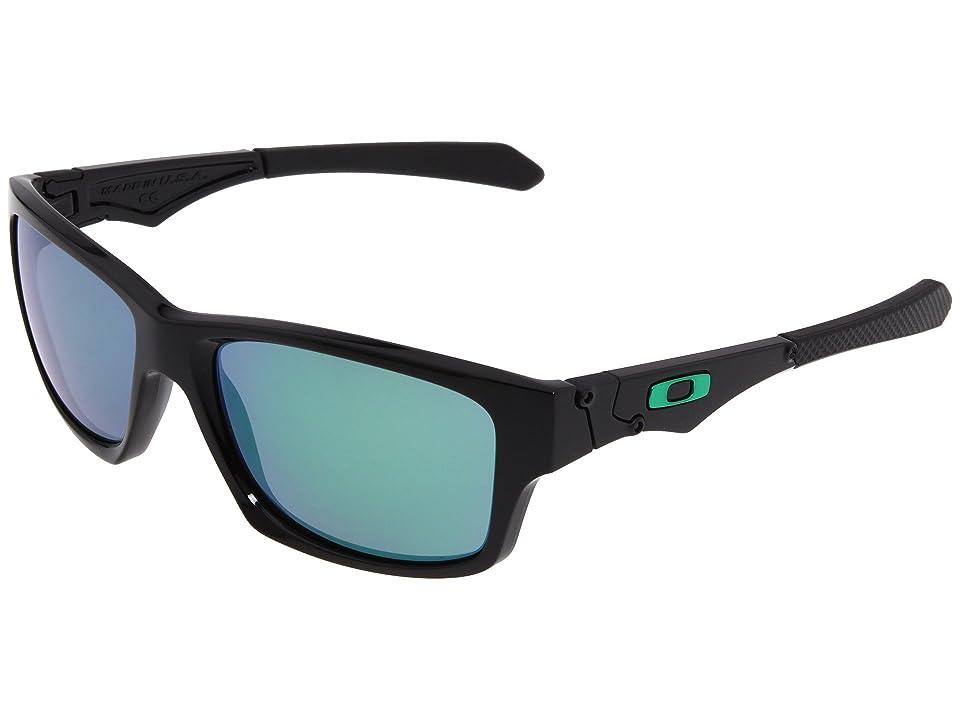 Oakley Jupiter Squared (Polished Black/Jade Iridium Lens) Athletic Performance Sport Sunglasses