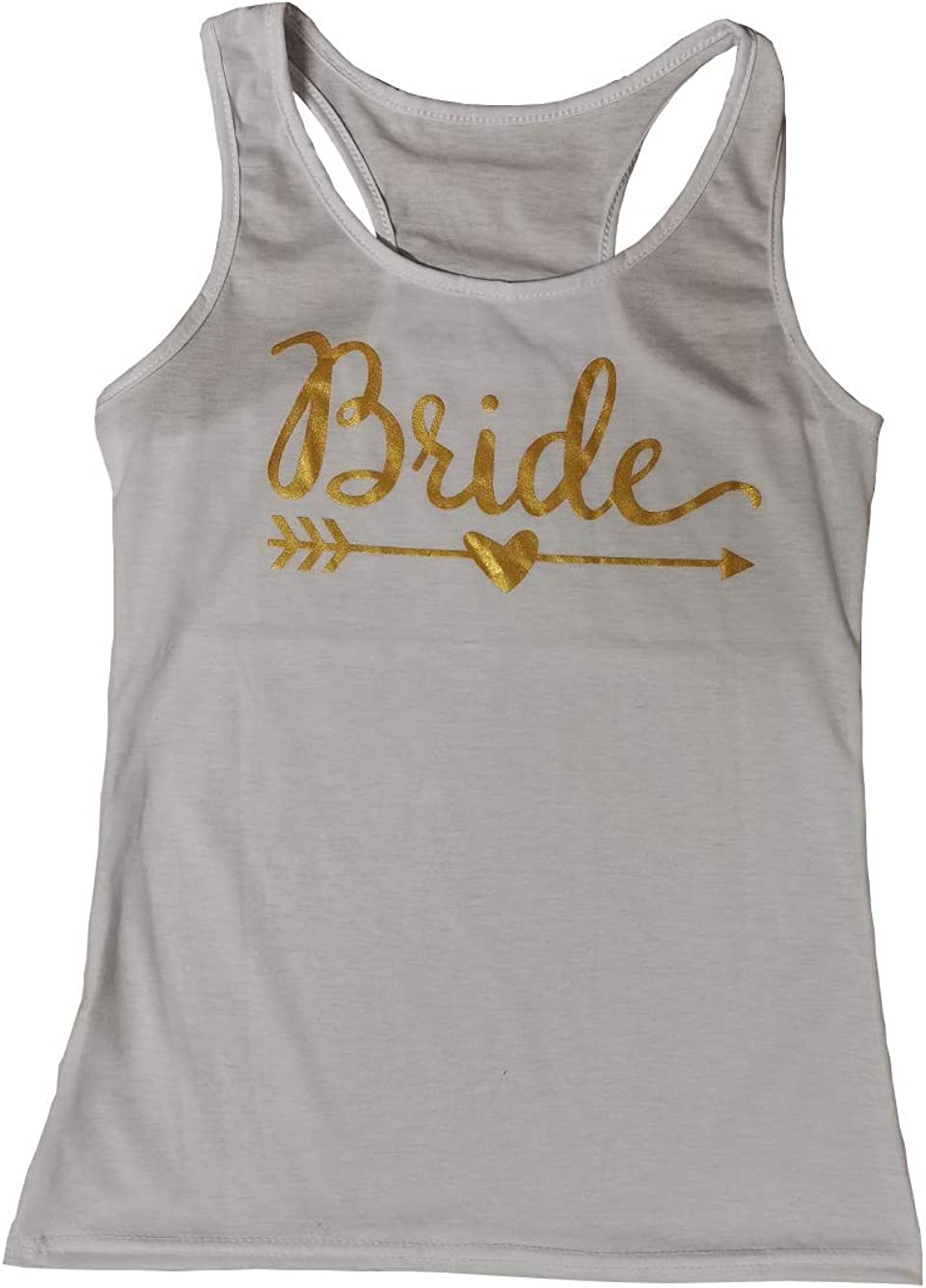 Shanenxn Women's Short Sleeve Bride Squad Letter Printing Sexy Tank Top Plus Size Vest Sexy Clothing (Color : White, Size : 4XL)