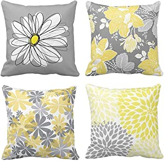 Emvency Set of 4 Throw Pillow Covers Gray and Yellow Modern Daisy with Pretty White Floral Hand Couch Sofa Decorative Pillow Cases Cushion Home Decor Square 16x16 Inches Pillowcases