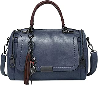Wultia - Women's High-Volume PU Leather Solid Color Fashion Tassel Cross Shoulder Bag Handbag Bolsa Feminina Black