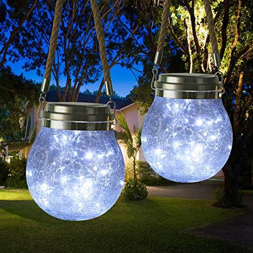 Qedertek Solar Lantern Outdoor, 2 Pack 30 LED Solar Hanging Lamps Glass Jar Fairy Lights, IP65 Waterproof Solar Garden Lights for Indoor Outdoor Garden Fence Party Table Decoration (White)