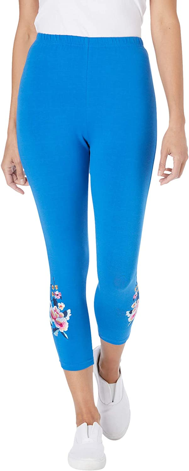 Woman Within Women's Plus Size Stretch Cotton Knit Embroidered Legging