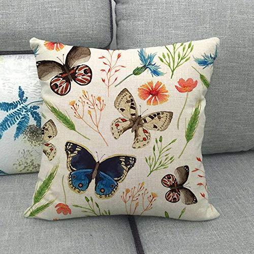 LPLH Color Mariposa Insecto Animal Lino Abrazo Funda de Almohada Almohada Abrazo Funda de Almohada 1485-veinticuatro_45 * 45cm