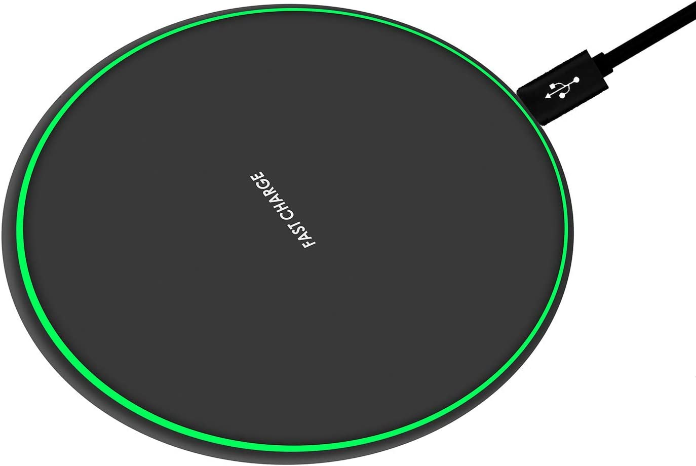 Wireless Charger Black Fast Ultra Slim 10W Wireless Charging Station Qi-Certified,Universal Wireless Charging Station Pad Compatible for Smart Phones and Other QI Devices(No AC Adapter,1 Pack)