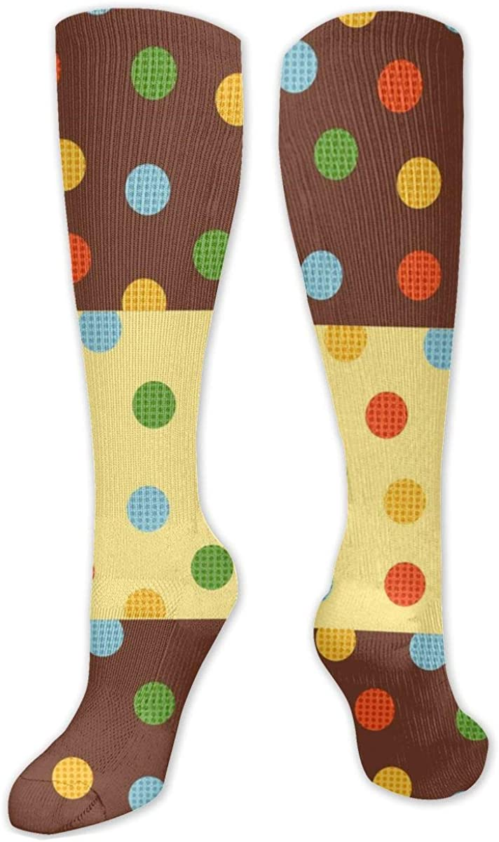 Colored Dots Knee High Socks Leg Warmer Dresses Long Boot Stockings For Womens Cosplay Daily Wear