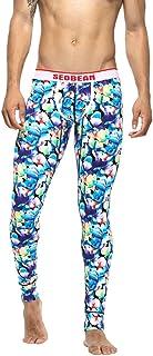 Men's Warm Cotton Thermal Long Johns Leggings Underwear Breathable Mens Print Thermal Winter Long Johns Pants Sports Leggings