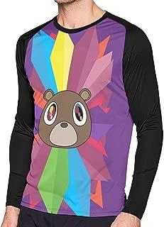 Graduation Bear Men's Long Sleeve Tee Shirt Adult T-Shirt Personality Raglan Tshirts Pullover Crew Neck Tops Size_Name