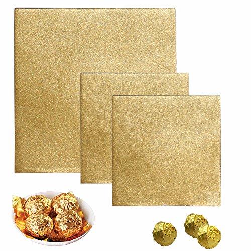 Senhai 300 envoltorios de Papel de Aluminio para Caramelos, 200 Unidades, 10 x 10 cm, 100 Unidades de 6 x 6 Pulgadas, Envoltorio de Chocolate para Embalaje, Color Dorado