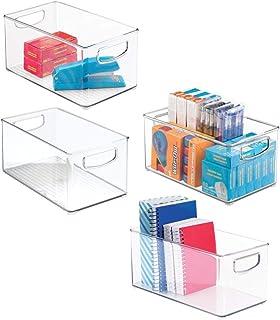 mDesign förvaringsbox för kontorsartiklar – kontorsförvaring i plast med inbyggda handtag – plastlåda för block, pennor, h...