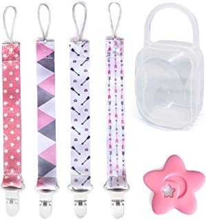 Pacifier Teether Clips 4 Pack with Girl's Teether and Pacifier Holder Case