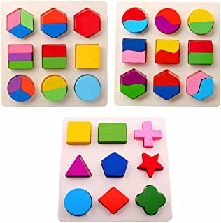 Amberetech Wooden Toys Montessori Color Math Shapes Geometric Puzzles,5.9inches,Pack of 3