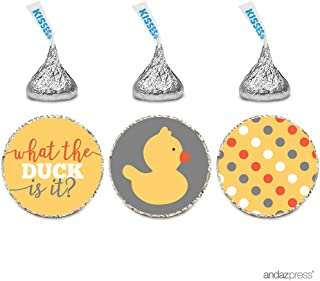 Andaz Press Chocolate Drop Labels Trio, Gender Reveal Baby Shower, What the Duck is It?, 216-Pack, Fits Hershey's Kisses Party Favors, Decor, Decorations