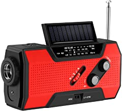 AOZBZ Handslinger op zonne-energie, voor noodgevallen, zelfaangedreven noodradio, weerradio, 2000 mAh, powerbank, heldere ...