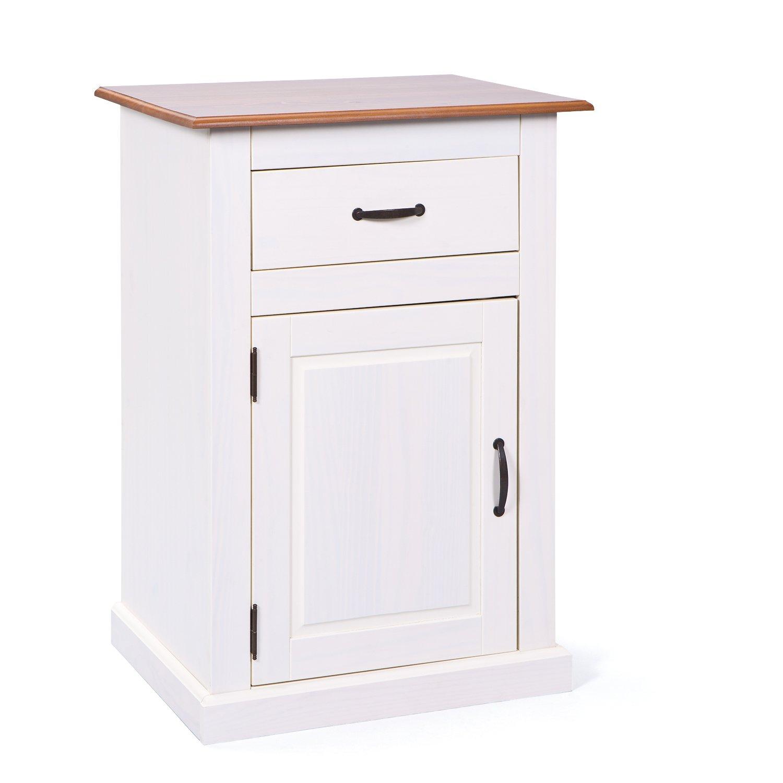 39x41x28cm Bianco ca AVANTI TRENDSTORE Comodino con Un cassetto e Un scompartimento Aperto