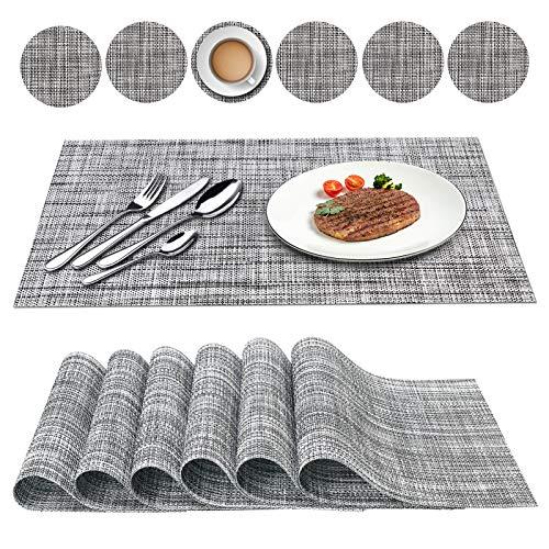 Oiwewly Sets de Table et Rond Coaster en PVC 12 Pcs, Antidérapant Lavable Chaleur Résiste, Grise