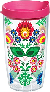 Tervis 1177238 Folk Heritage Tumbler with Wrap and Fuchsia Lid 16oz, Clear