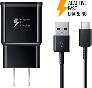 Samsung Adaptive Fast Charging USB Wall Charger with USB-C Cable for Samsung Galaxy S8 S9 Plus Note 8 - Non-Retail Packaging - Black
