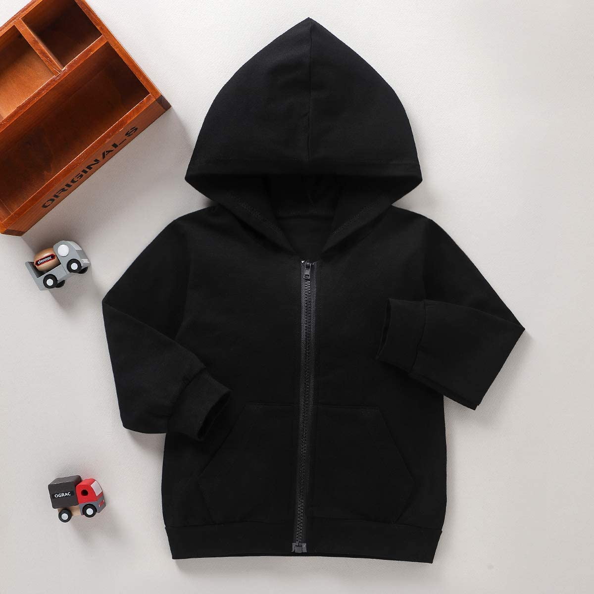 Toddler Boy Girl Clothes Letter Printed Sweatshirt Hooded Jersey Casual Tops Clothes Outfit