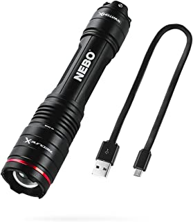 NEBO Redline-X Rechargeable Waterproof Flashlight: 1800 lumen, 4x zoom, Switch-X technology; patented paddle switching mechanism to operate the power mode and instant activation for TURBO and Strobe