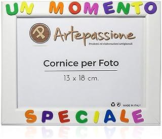 Cornici per foto in legno con la scritta Un Momento Speciale, da appoggiare o appendere, misura 13x18 cm Bianca. Ideale pe...