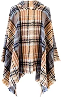 neveraway Womens Hood Fall Winter Warm Poncho Coat Plaid Fringe Wrap Scarves