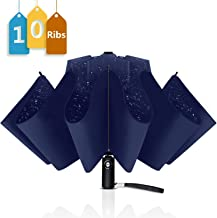 WSKY 12 Ribs Inverted Umbrella Windproof Automatic Folding Umbrella Teflon Coating 10 Ribs Auto Reverse Umbrella Portable Travel Umbrella with Leatherette Umbrella Cover