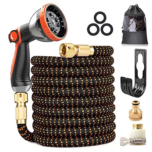 Photo of 75FT Expandable Garden Hose, Upgraded 3-Layer Latex Hose Pipe, 3/4″&1/2″ Solid Brass Connectors, Durable 3450D Weave, No-Kink Flexible Water Hose, 10 Function Spray