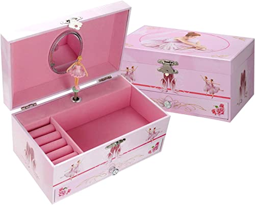 TAOPU Sweet Musical Jewelry Box with Pullout Drawer and Dancing Ballerina Girl Figurines Music Box Jewel Storage Case...