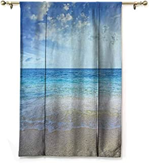 Thermal Insulated Blackout Curtain Ocean Decor Collection,Wavy Crystal Sea and Bright Sky with Clouds at The Sandy Beach Be Grateful to Nature Theme,Cream Blue,36