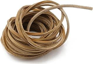 Fyess 6.5 yards 4 mm Genuine Leather Strip Braiding String Light Brown