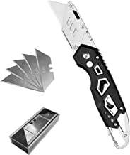 Utility Knife Folding Box Cutter with Extra 5pcs SK5 Stainless Steel Blades, Best Work Knife with Clip, Easy Release Button, Quick Change and Lock-Back Design