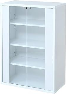 JKプラン 6BOXシリーズ ガラスキャビネット リビング収納 本棚 にもなる ラック 幅 60 cm ホワイト fr-046-wh