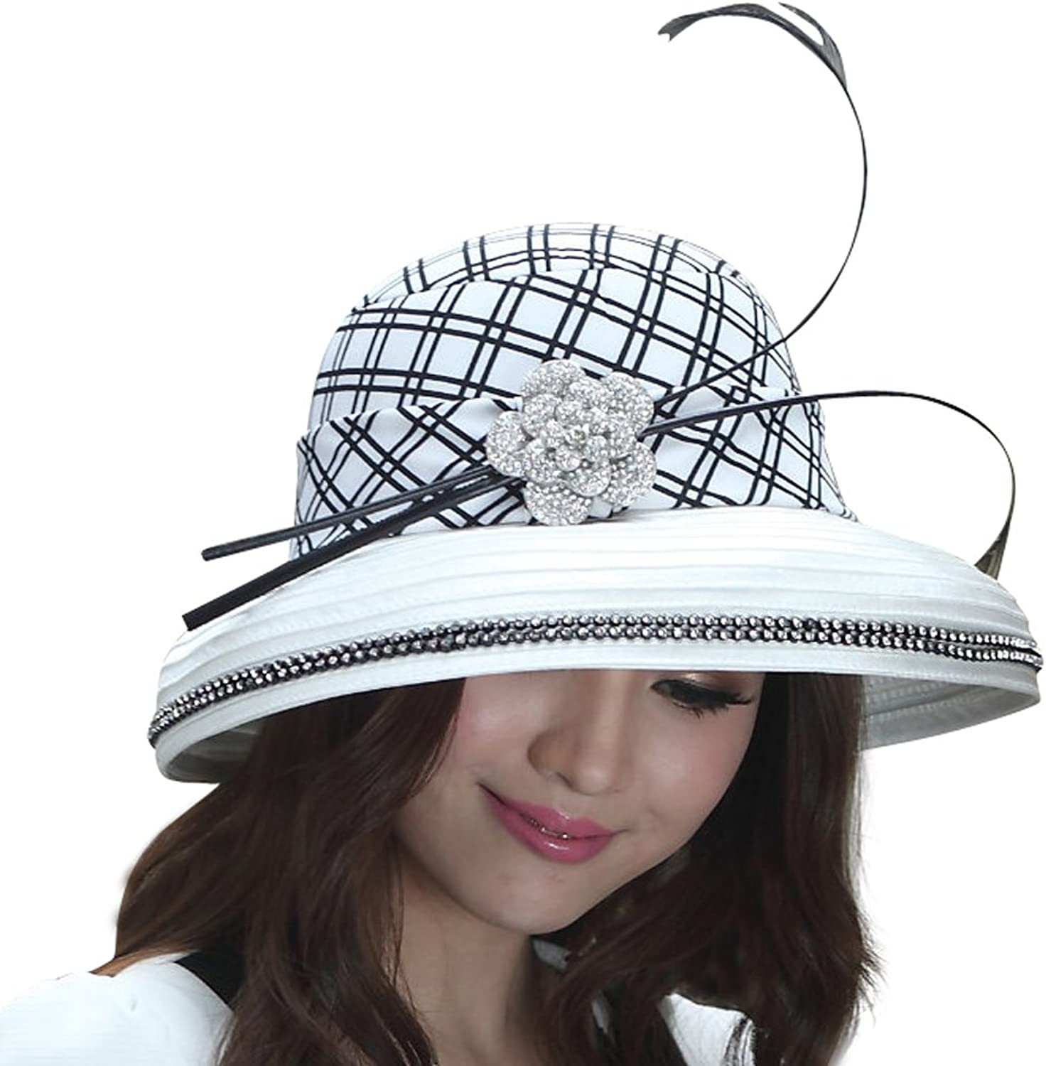 June's Young Women Hat Formal Hats New Style Wide Brim Feather White Black