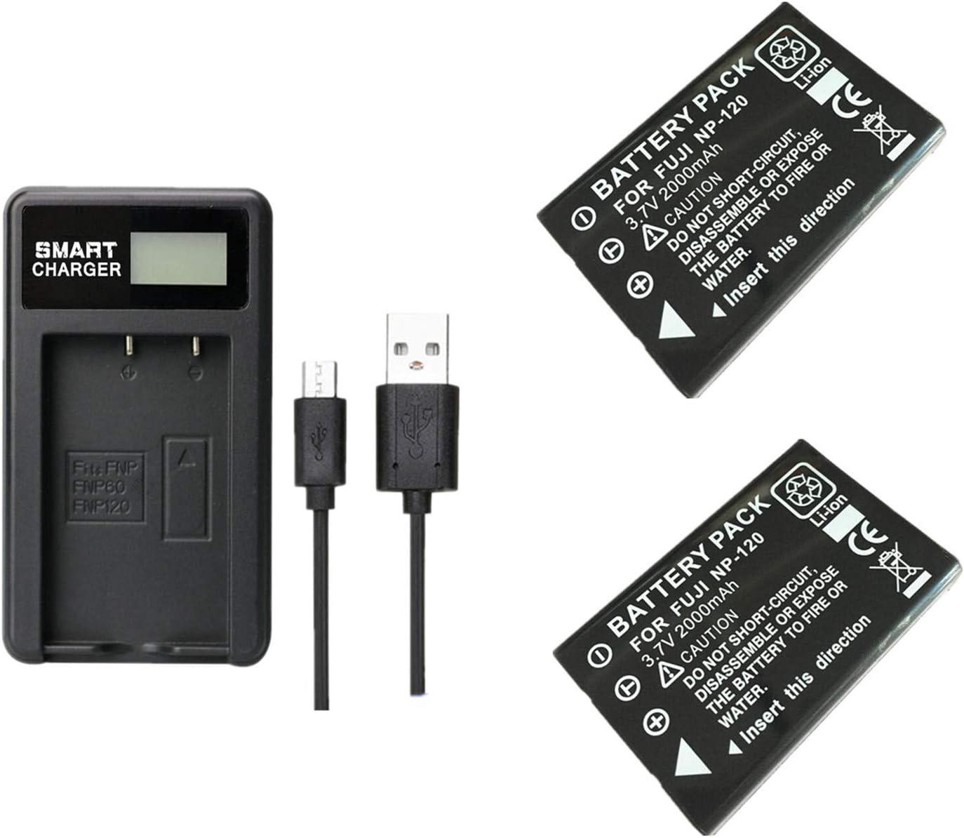 2 Stück 2000 Mah Np 120 Np 120 Batterie Mit Ladegerät Kamera