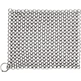 Candure Cast Iron Cleaner Stainless Steel 7x7 Inch Chainmail Scrubber for All Types of Skillet Griddles, Cast Iron Pans, Grills & Dutch Ovens