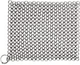 Candure Cast Iron Cleaner Stainless Steel 7x7 Inch Chainmail Scrubber for All Types of Skillet...