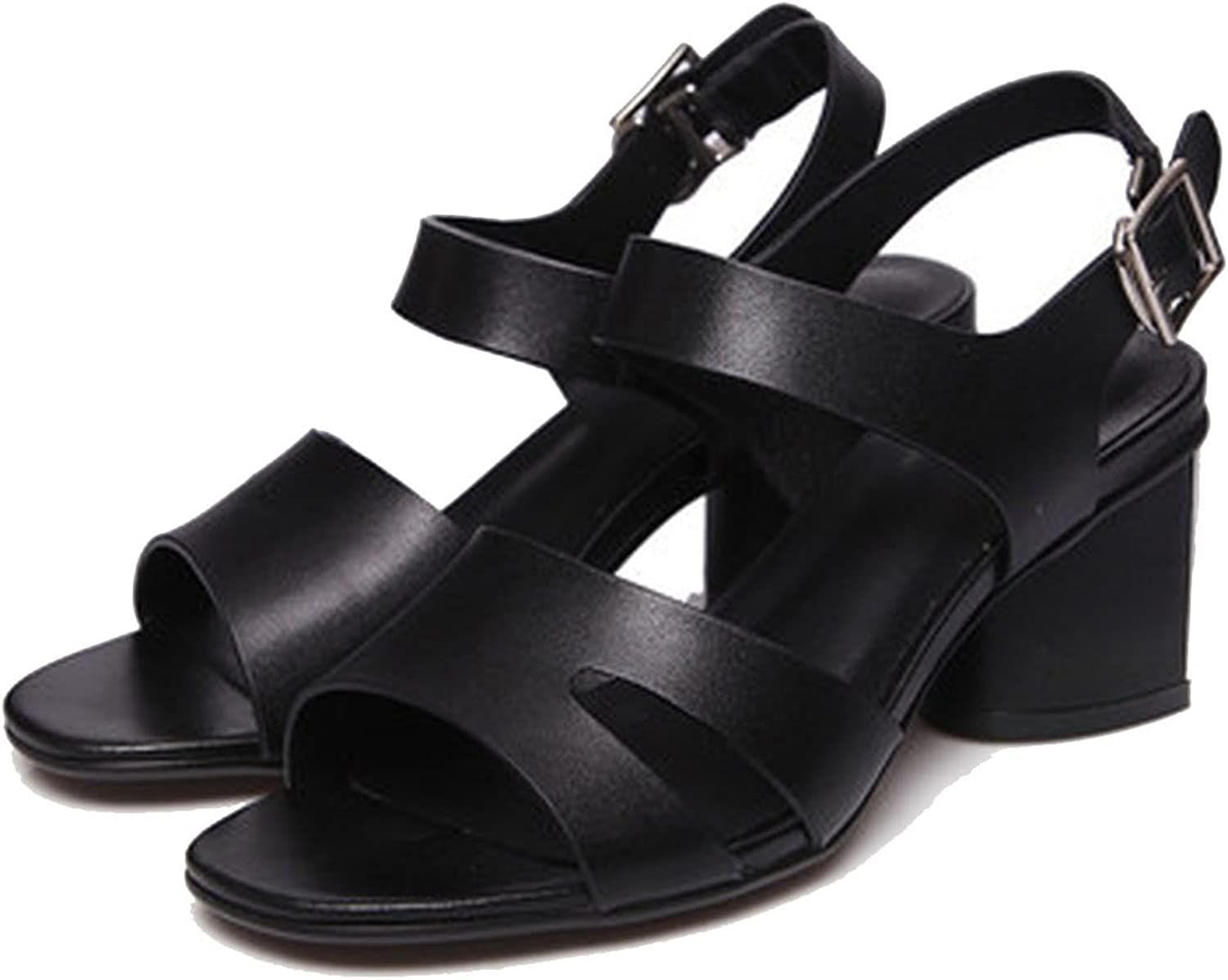 Running-sun Summer Genuine Leather Women Sandals Thick Heel with Pearl Comfortable Women Sandals Black White