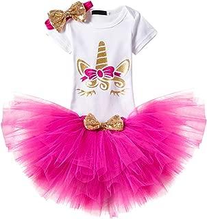 MYRISAM Baby Girls Sequin Unicorn Tutu Outfit 1st 2nd Birthday Cake Smash Photo Props Short Sleeve Romper Skirt Headband