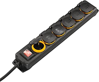 Hama Outdoor Steckdosenleiste mit Schalter, 6-fach, 2m spritzwassergeschützt nach IP44, mit Klappdeckel, zur Wandmontage geeignet Außenbereich Mehrfachsteckdose schwarz