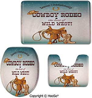 Bathroom Rug Set, Three-Piece Toilet seat pad, Toilet Carpet Rugs, Contour Mat, Lid Cover, Non-Slip mat,Western,Cowboy Rodeo The Best of Wild West Poster Design