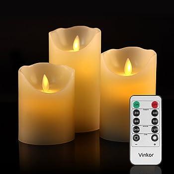 LED キャンドル ライト 専用リモコン付き 自動消灯タイマー 癒し 雰囲気 (3点セット)
