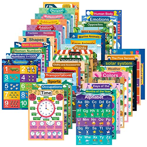 35 Pcs Educational Posters for Preschoolers, Toddlers 11.7 x 16.5 inches Waterproof All-in-One Educational Charts n Posters Set for Classroom & Homeschool 1st, 2nd, 3rd, 4th & 5th Grade