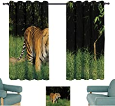 WinfreyDecor Classical Curtain Bengal Tiger on The Prowl 70%-80% Light Shading, 2 Panels,63