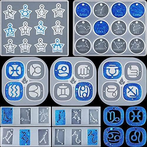 9 piezas de moldes colgantes de constelación del zodiaco redondo rectangular y signo del zodiaco de la estrella, molde de silicona