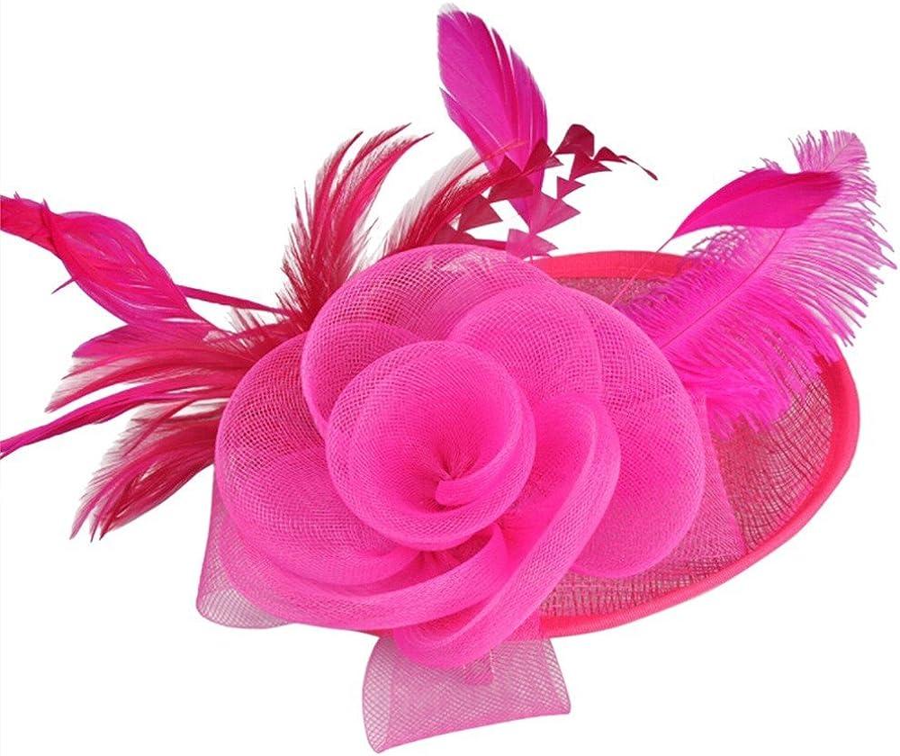 Sttech1 Women Fascinator Mesh Hat Ribbons Tea Party Headband Kentucky Derby Wedding Flower Mesh Feathers Hair Clip