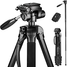 Victiv 72-inch Camera Tripod Aluminum Monopod T72 Max. Height 182 cm - Lightweight and Compact for Travel with 3-way Swivel Head and 2 Quick Release Plates for Canon Nikon DSLR Video Shooting - Black