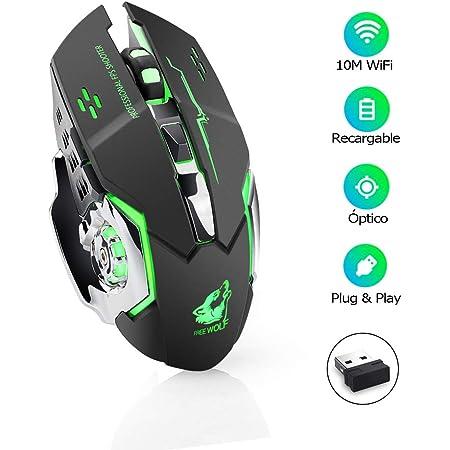 E T EASYTAO Gaming Mouse Inalámbrico Recargable Ratón Óptico 6 Botones Programables, Clic Silencioso, 3 dpi Ajustable, Receptor Nano, Diseño Ergonómico para PC, Computadora, Windows, Mac