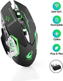 E T EASYTAO Gaming Mouse Inalámbrico Recargable Ratón Óptico 6 Botones Programables, Clic Silencioso, 3 dpi Ajustable, Rec...