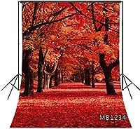 ZPC 5x7FT秋の森の背景古代のカエデの木自然の風景赤いカエデの葉結婚式の誕生日パーティーの装飾バナースタジオのパス写真の背景